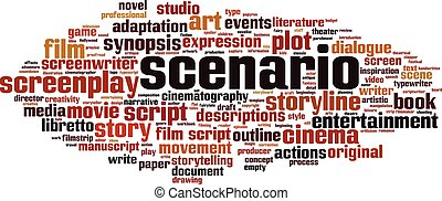 Scenario word cloud concept. Collage made of words about ...
