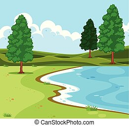 scence, 屋外, 湖, 風景