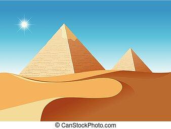 scence, deserto, piramidi