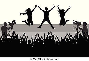 scene., 歌手, 群集, ダンス, 人々。, シルエット, 朗らかである, ベクトル, バックアップ