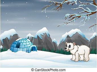 Scene a polar bear and igloo in a winter landscape