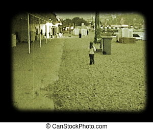 little girl run at autumnal beach stylized at old movie