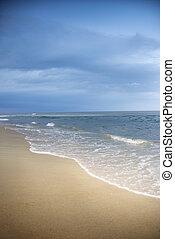 scene., atlantisch, sandstrand