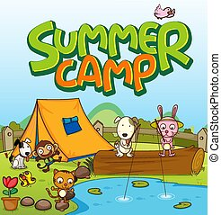 Scene background design for word summer camp with many animals by the tent