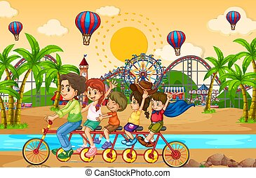 Scene background design with family riding bike in the funpark