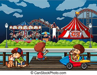 Scene background design with kids playing at funfair