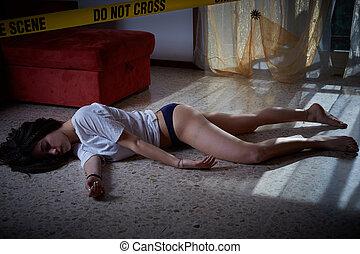 scene., brott, lögnaktig, offer, golv