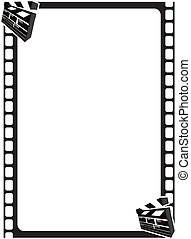 Scene Clapper Movie Frame - Portrait film strip border with...