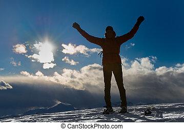 scene., conceptuel, silhouette, mountain., homme