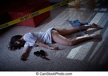 scene., crime, mensonge, victime, plancher