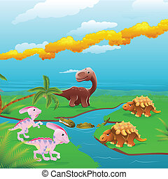 scene., dinosaurier, karikatur
