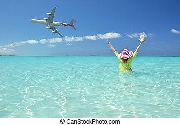 scene., exuma, groot, strand, bahamas