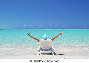scene., exuma, playa, bahamas