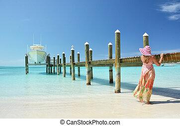 scene., exuma, spiaggia, bahamas