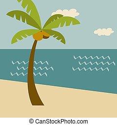 scene., feriado, praia, cartaz, verão, retro