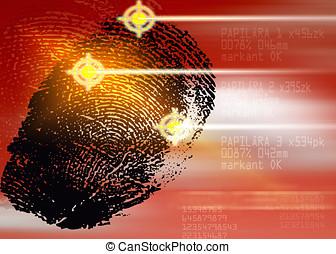 scene forbrydelse, -, biometric, garanti, skanner, -,...