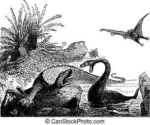 Scene from the Jurassic period, Ichthyosaur, plesiosaur, pterodactyls, vintage engraved illustration. Earth before man – 1886.