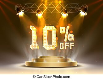 Scene golden 10 sale off text banner. Night Sign.