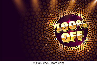 Scene golden 100 sale off text banner. Night Sign.