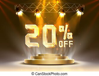 Scene golden 20 sale off text banner. Night Sign.