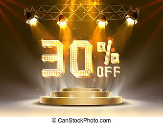 Scene golden 30 sale off text banner. Night Sign.