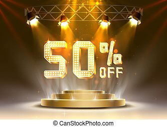 Scene golden 50 sale off text banner. Night Sign.