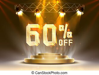 Scene golden 60 sale off text banner. Night Sign.