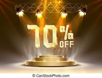 Scene golden 70 sale off text banner. Night Sign.