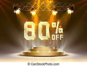 Scene golden 80 sale off text banner. Night Sign.