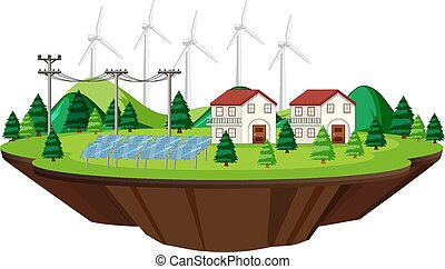 Scene houses with solar cells and wind turbines illustration