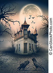 scene., hus, fasa, besatt, kråkor