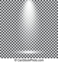 Scene illumination. Cold light effect. Stage illuminated spotlight on transparent background
