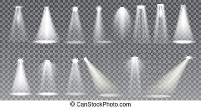 Scene illumination effects on transparent background. Vector Illustration