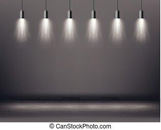Scene Illumination Effects with Spotlight. Vector Illustration.