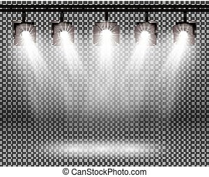 Scene Illumination Effects with Spotlights on Transparent Background.
