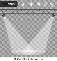 Scene illumination, transparent effects background