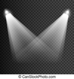 Scene illumination transparent effects on a plaid dark  background. Bright lighting with isolated spotlights. Vector