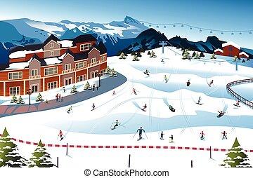 Scene in a Ski Resort - A vector illustration of scene in a...