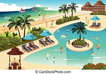 Scene in a tropical resort - A vector illustration of scene ...