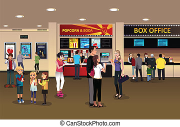 Scene in the movie theater lobby - A vector illustration of ...