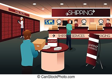 Scene inside a shipping store - A vector illustration of...