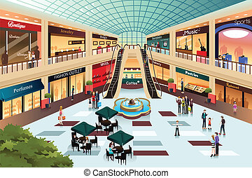 Scene inside shopping mall - A vector illustration of scene ...