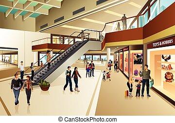 Scene Inside Shopping Mall - A vector illustration of scene...