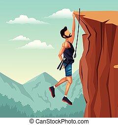 scene landscape man hanging on the cliff rock climbing
