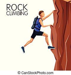 scene man climbing on a rock mountain