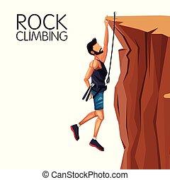 scene man hanging on the cliff rock climbing