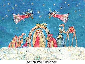 scene., natividad, jesús, navidad, joseph, maría