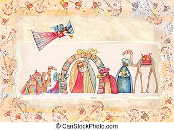 scene., nativity, イエス・キリスト, クリスマス, ヨセフ, mary