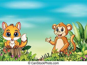 scene natur, hos, en, baby, ræv, beliggende, på, træ stub, og, abe