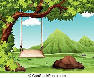scene natur, hos, svinge, på, den, træ